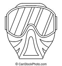 Paintball mask icon, outline style - icon in outline style...