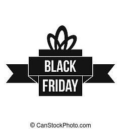 Black friday ribbon icon, simple style - icon in simple...