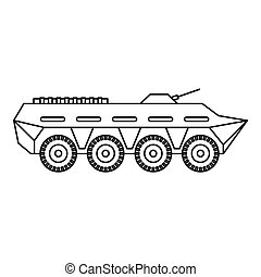 Army battle tank icon, outline style - Army battle tank icon...