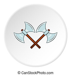 Battle axes with two tips icon, cartoon style - Battle axes...