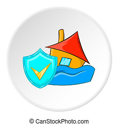 Safety in a flood icon, cartoon style - Safety in a flood...