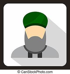 Muslim man with beard in green turban icon in flat style on...