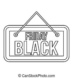 Black Friday signboard icon, outline style - Black Friday...