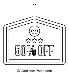 Sale tag 50 percent off icon, outline style - Sale tag 50...