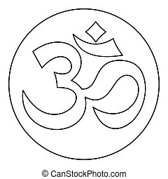 Om sign icon, outline style - icon in outline style on a...