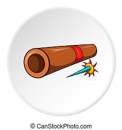 Brass tube with darts icon, cartoon style - Brass tube with...