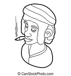 Rastafarian man wearing headband and smoking icon - icon in...