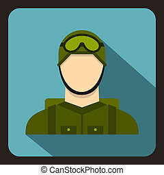 Military paratrooper icon, flat style - Military paratrooper...
