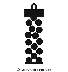 Pack with paintball bullets icon, simple style - icon in...