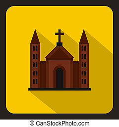 Christian catholic church building icon flat style - icon in...