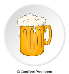 Mug with beer icon, cartoon style - Mug with beer icon in...