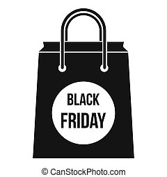 Black Friday shopping bag icon, simple style - icon in...