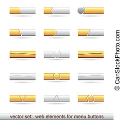 Illustration set of web elements for menu buttons - vector