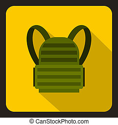 Military backpack icon, flat style - Military backpack icon...