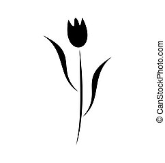 Illustration element of black flower isolated on white...