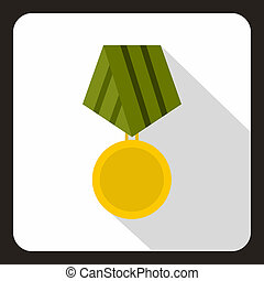 Military medal icon, flat style - Military medal icon in...