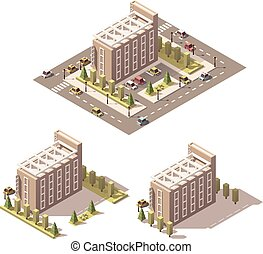 Vector isometric low poly hotel