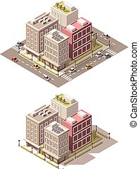Vector isometric low poly town street