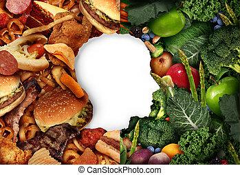 Diet Eating Choice - Diet eating choice as a human head in a...
