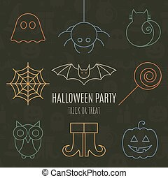 Halloween linear icons set with editable stroke