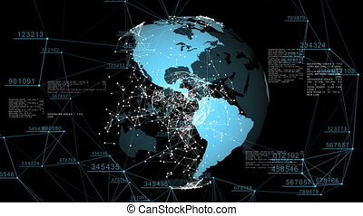 3d seamless animation of Global Business Network. Earth...