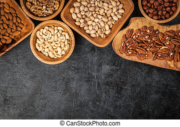 Assortment of nuts - Assortment of different nuts, top view