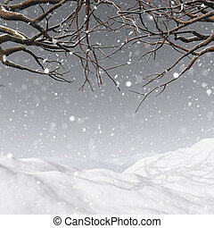 3D winter tree on a snowy background