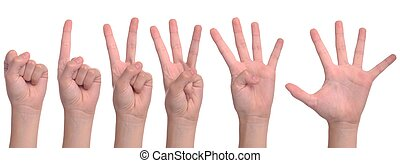 Woman hands counting - set of back woman hands counting from...