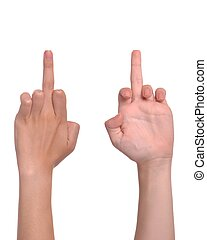 Middle finger - front and back woman hand showing the middle...