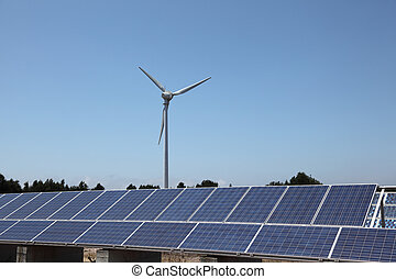 Wind turbine and photovoltaic panels for clean energy