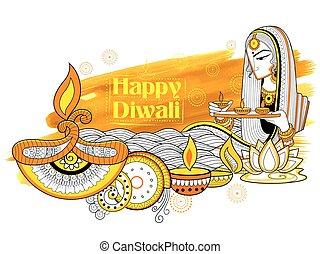 Lady burning diya on happy Diwali Holiday doodle background for light festival of India