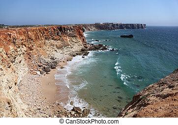 Algarve, acantilados, atlántico,  portugal, Costa
