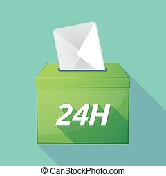 Long shadow ballot box with the text 24H - Illustration of a...