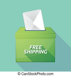 Long shadow ballot box with the text FREE SHIPPING -...