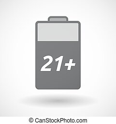 Isolated battery icon with the text 21+ - Illustration of an...