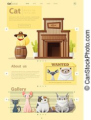 Animal website template  banner and infographic with Cat 2