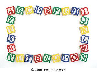 ABC Horizontal Wooden Block Frame - Wooden alphabet blocks...