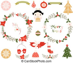 Christmas wreaths and elements