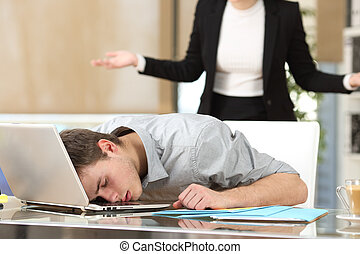 Employee sleeping with boss watching - Employee sleeping...