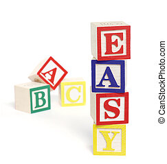 Easy ABC Blocks - Four wooden alphabet blocks on white...