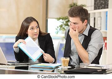 Worried coworker showing bad results - Worried coworker...