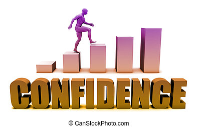 Confidence 3D Concept  in Blue with Bar Chart Graph
