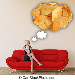 Woman Craving Potato Chips and Thinking About Eating Food