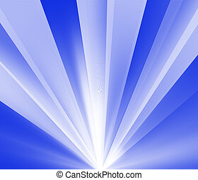 White Rays of Light on Blue - Burst of white light rays on a...
