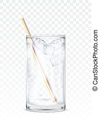 Glass beaker with water, ice cubes and a straw