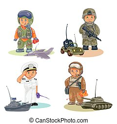 Set vector icons of small children different professions -...