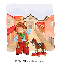 Vector illustration of little cowboy with a wooden horse on...