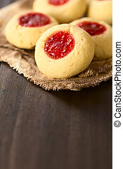 Thumbprint Cookies - Thumbprint Christmas cookies filled...