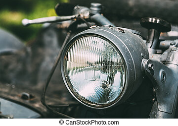 Close View Of Headlight Of Old Rarity Gray Tricar Or...