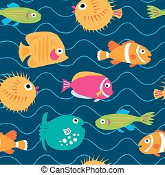 Seamless pattern with exotic fish on the waves - Seamless...